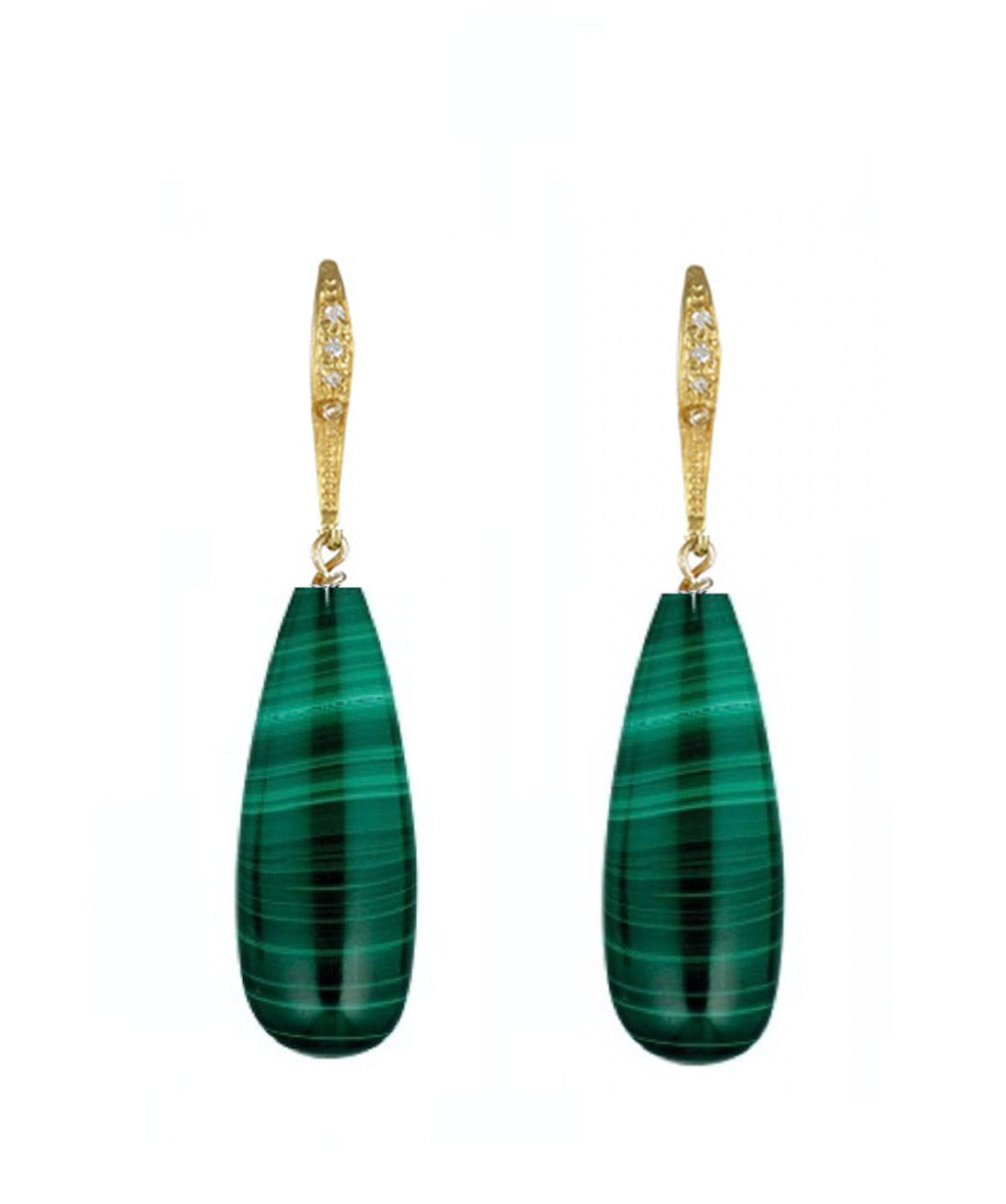 18K Gold Malachite & Pave tear Drop Earrings