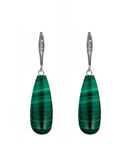 Sterling Silver Malachite & Pave tear Drop Earrings
