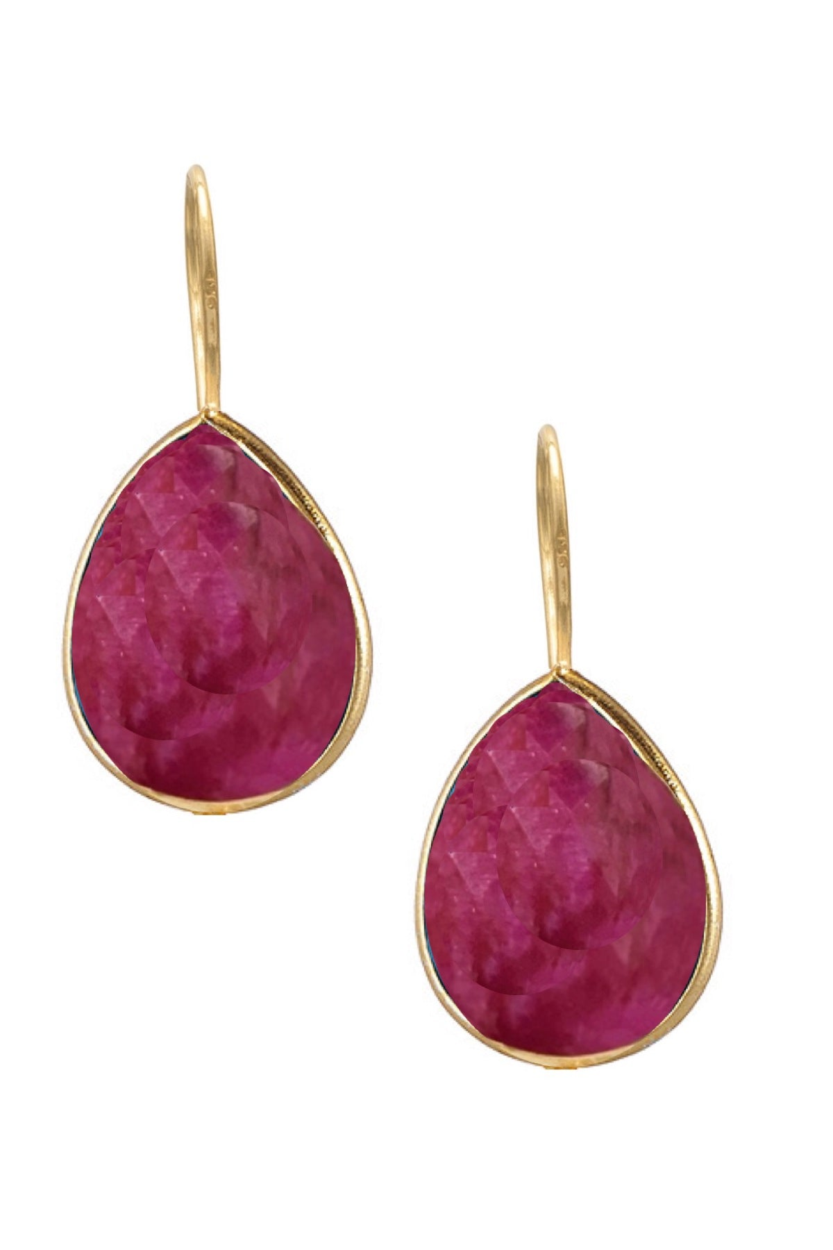 18k Gold Plated Sterling Silver Ruby Pear Drop Earrings