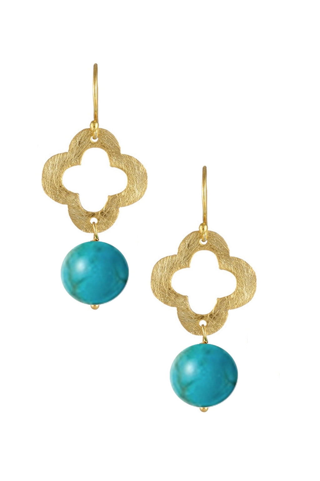 18k Gold Plated Clover & Turquoise Drop Earrings