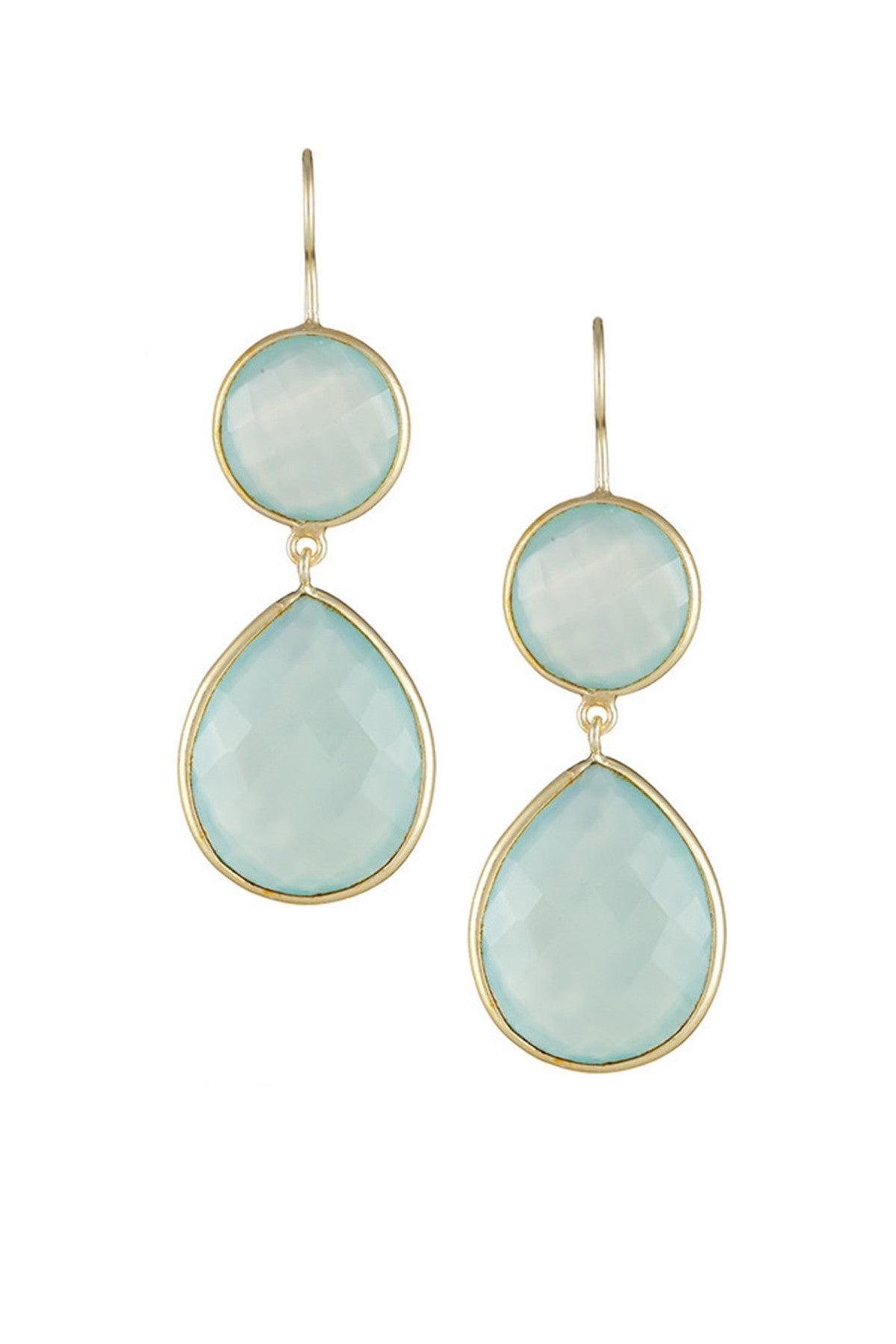 18K Gold Plated Sea Green Chalcedony Disc and Pear Drop Earrings