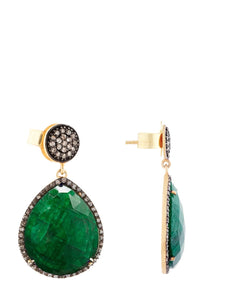 18K Emerald & Multi Diamond Pear Drop Earrings