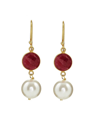 18k Gold Plated Ruby & Pearl Drop Earrings