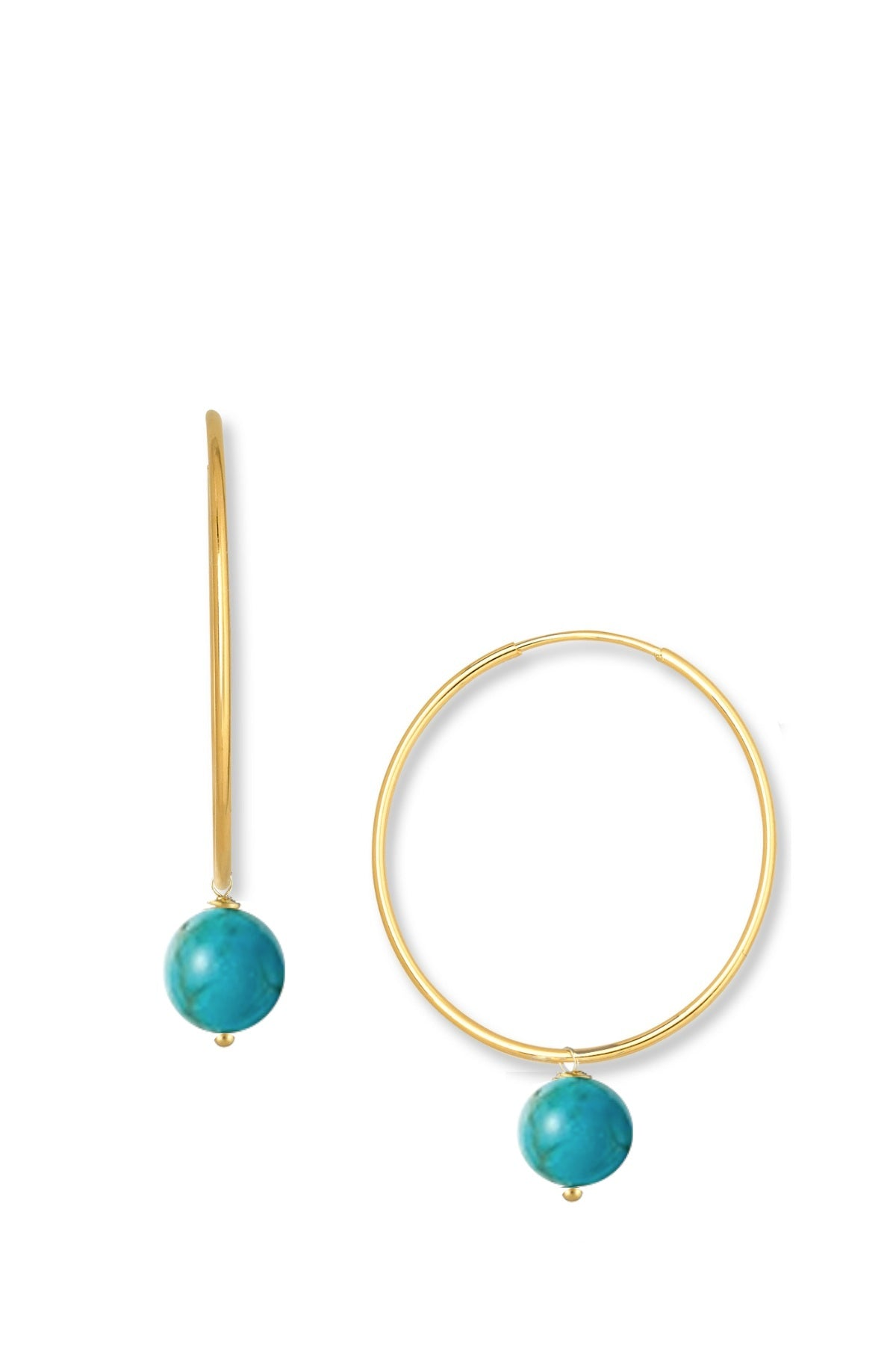 18k Gold Turquoise Drop Hoop Earrings