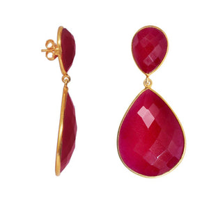 18k Gold Ruby Double Pear Drop Earrings