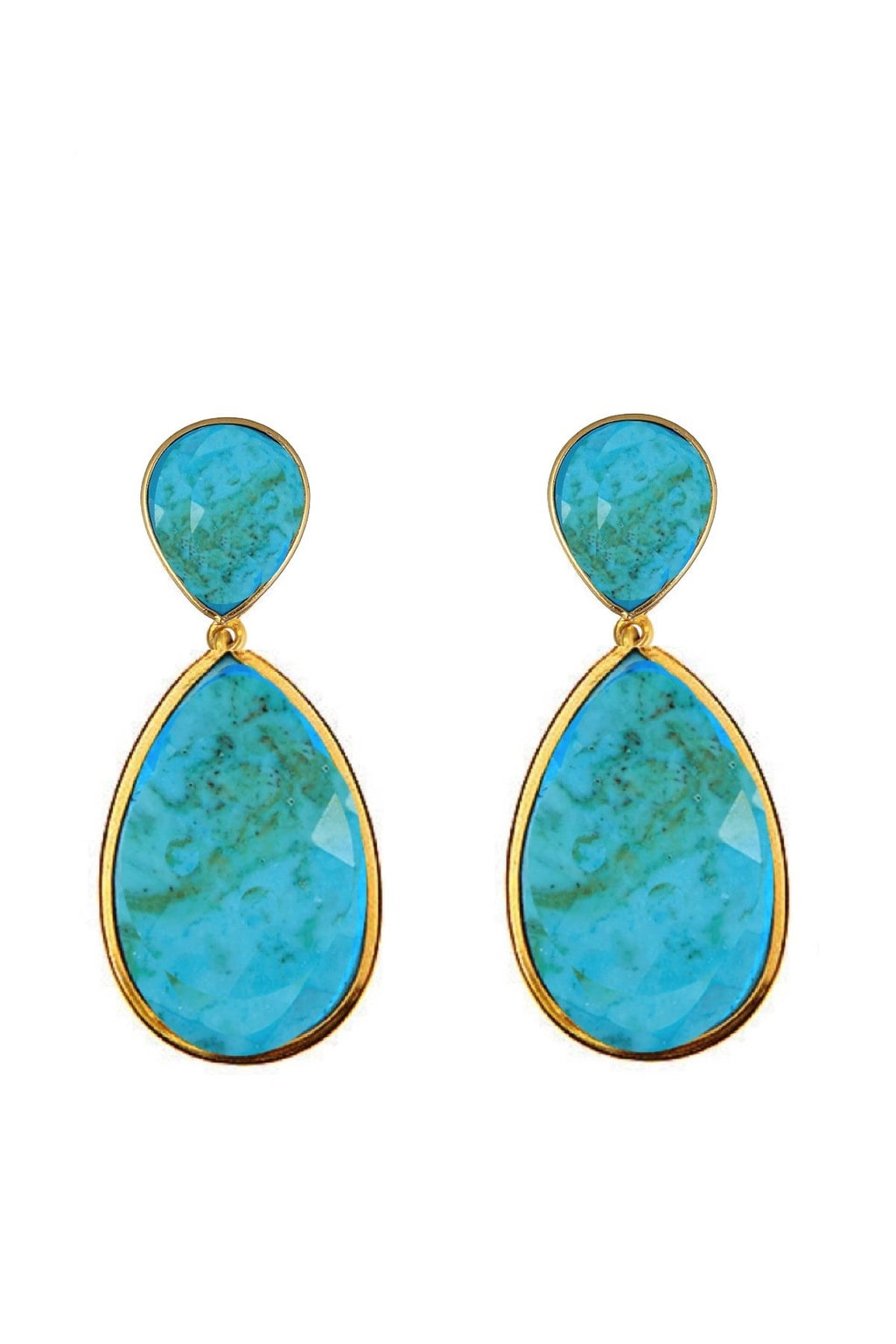 18K Gold Double Pear Drop Turquoise Earrings