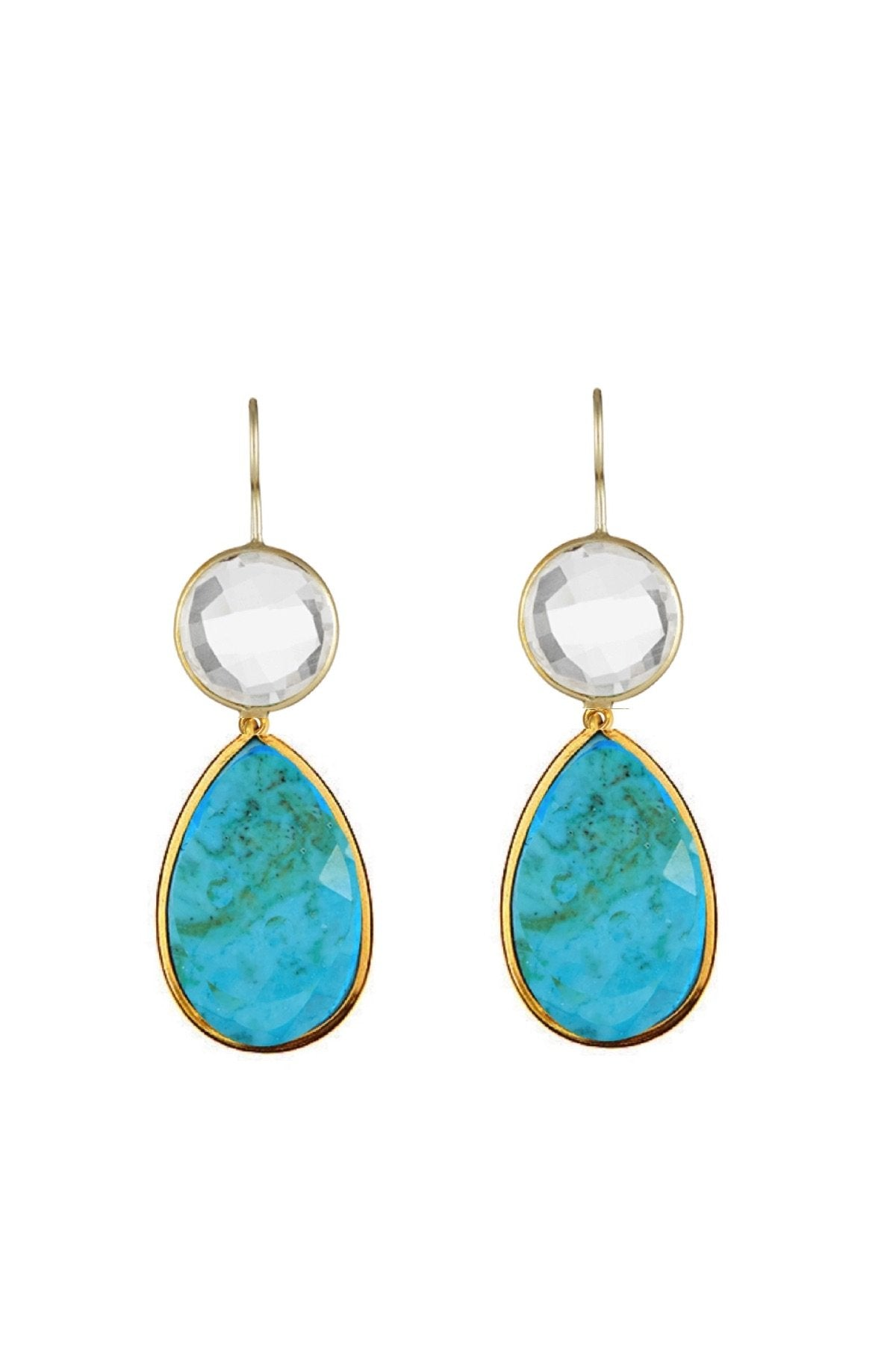 18K Gold Clear Quartz & Turquoise Pear Drop Earrings