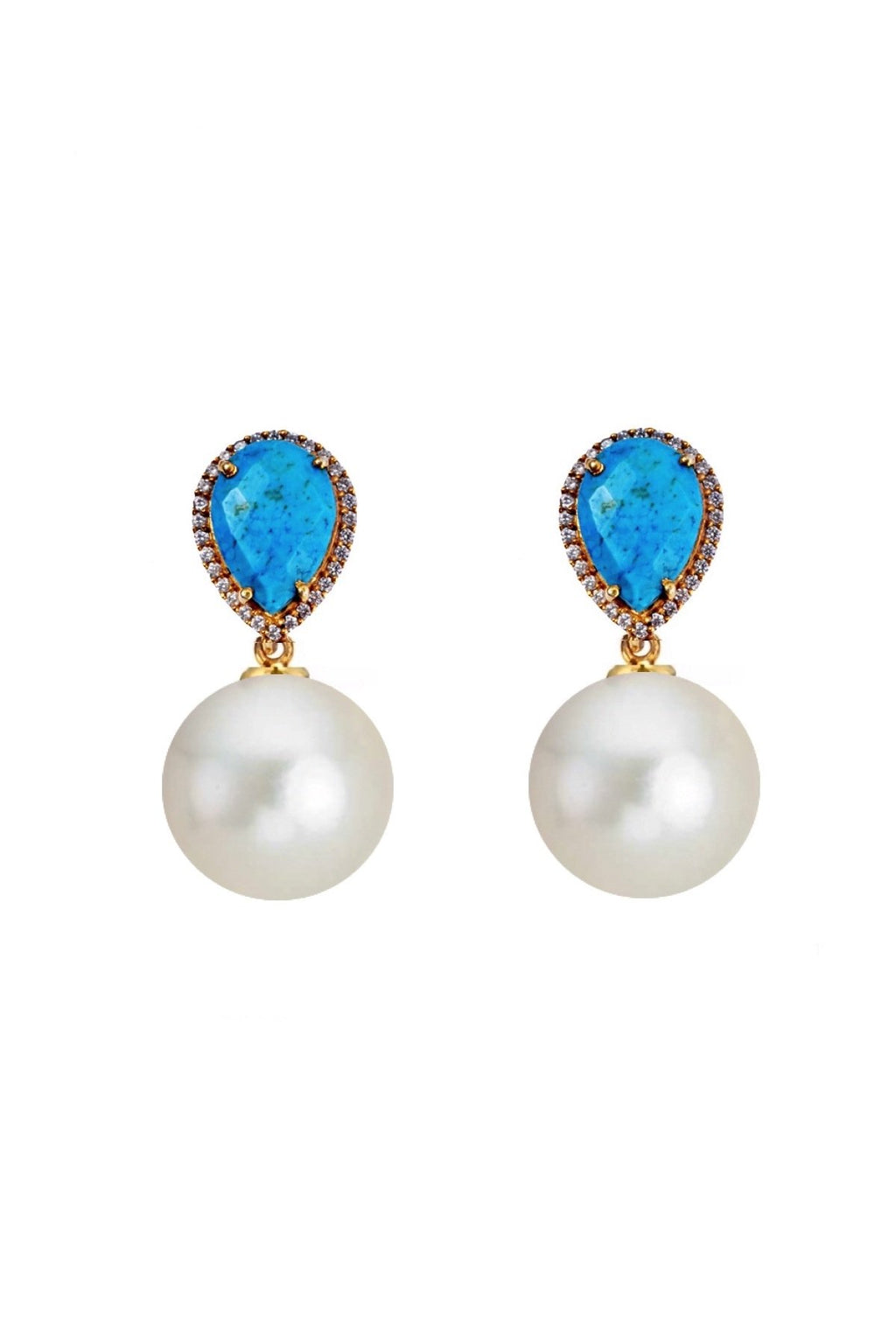 18K Gold Turquoise Embelished Pearl Drop Earrings