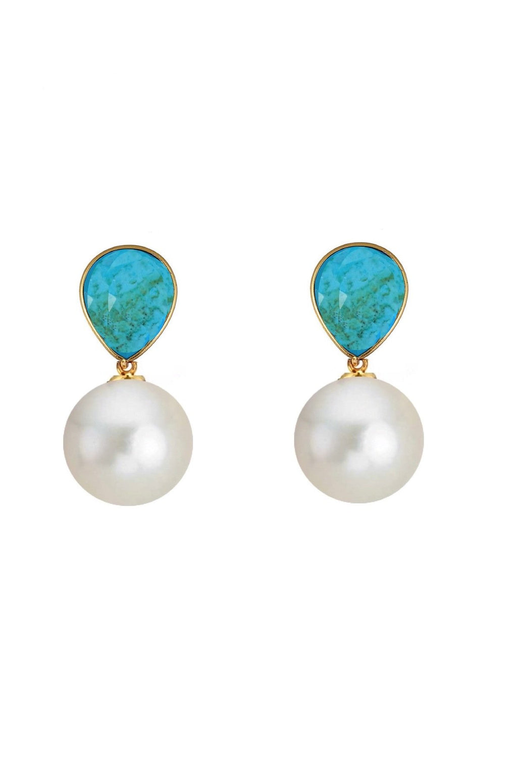 18K Gold Turquoise & Pearl Drop Earrings