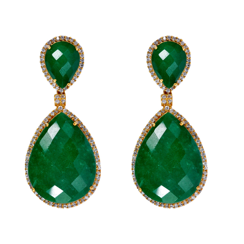 18k Gold Plated Emerald Double Pear Drop Earrings