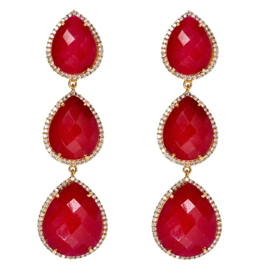 18k Gold Multi Ruby Pear Embellished Drop Earrings