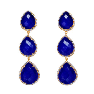 18k Gold Multi Sapphire Pear Embelished Drop Earrings