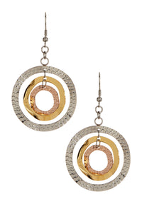 Multi Tri Color Hammer Multi Link Circular Earrings