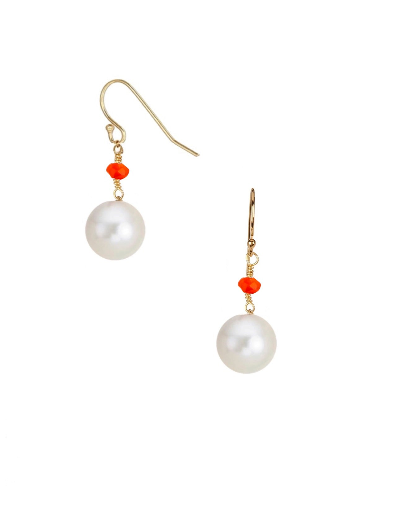 18k Gold Plated Carnelian & Pearl Drop Earrings