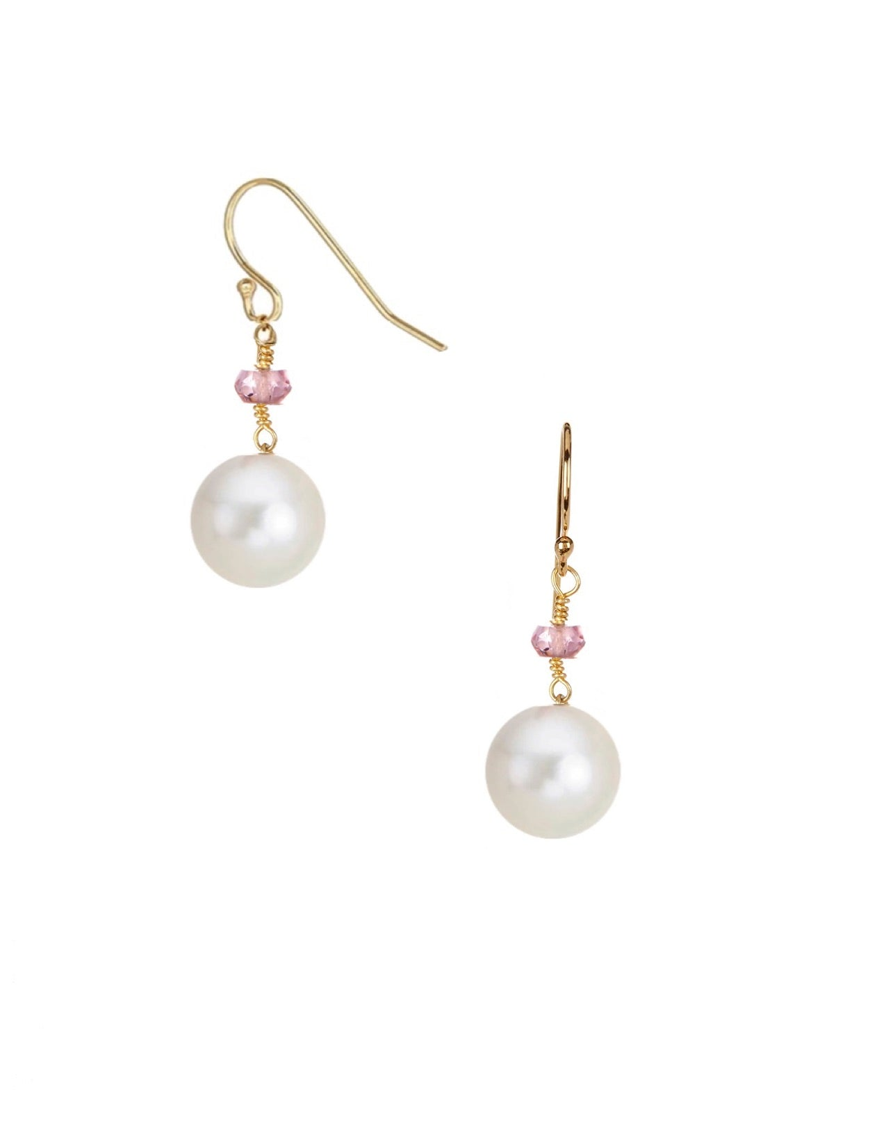 18k Gold Plated Pink Tourmaline & Pearl Drop Earrings