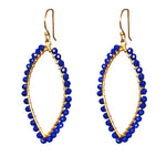 18k Gold Sapphire Marquise Shape Earrings