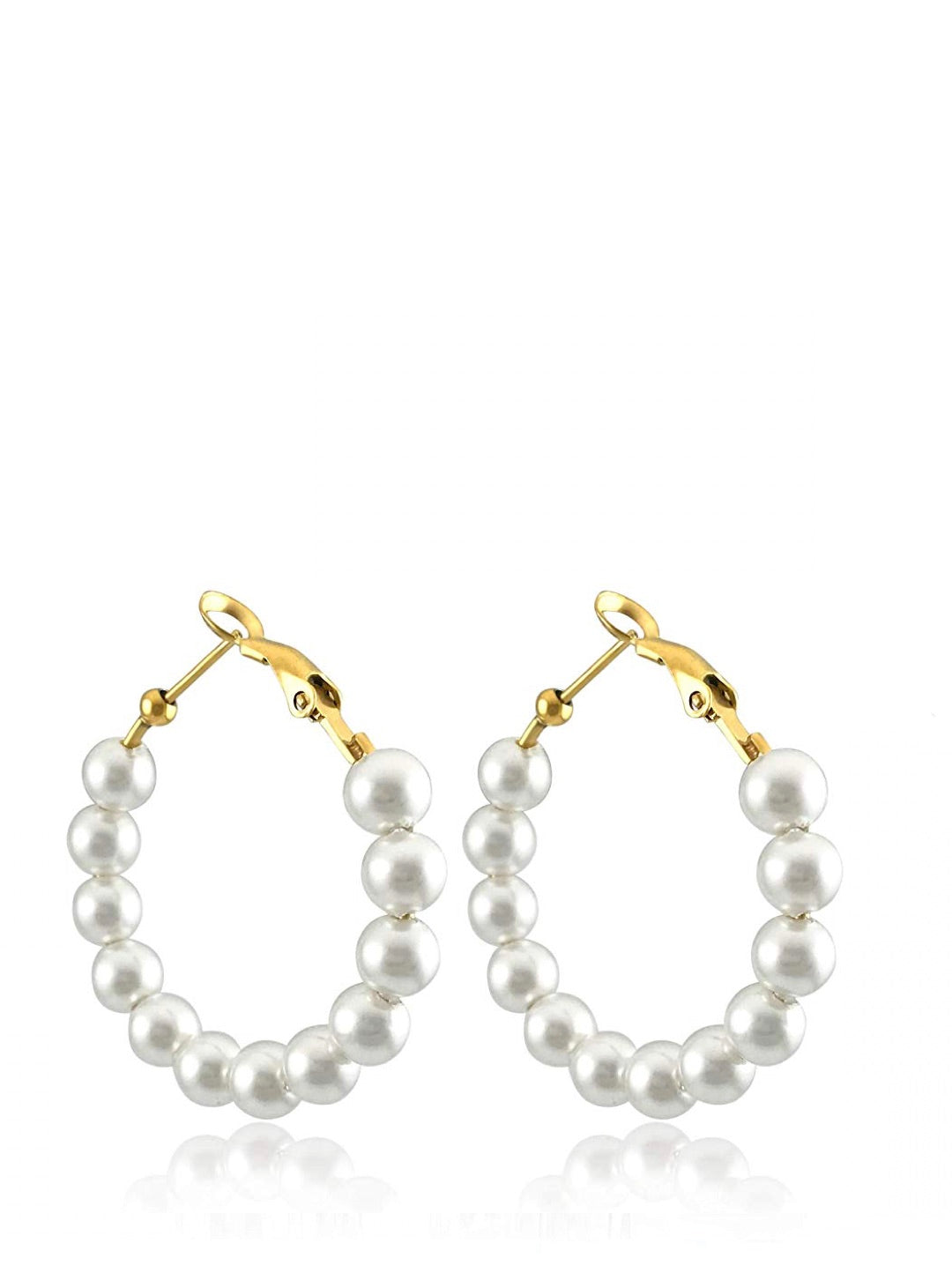 18K Gold Pearl Hoop Earrings