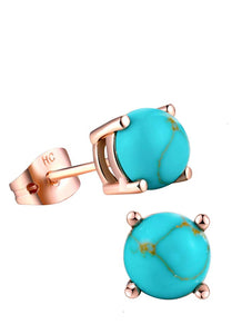 18K Rose Gold Turquoise Stud Earrings