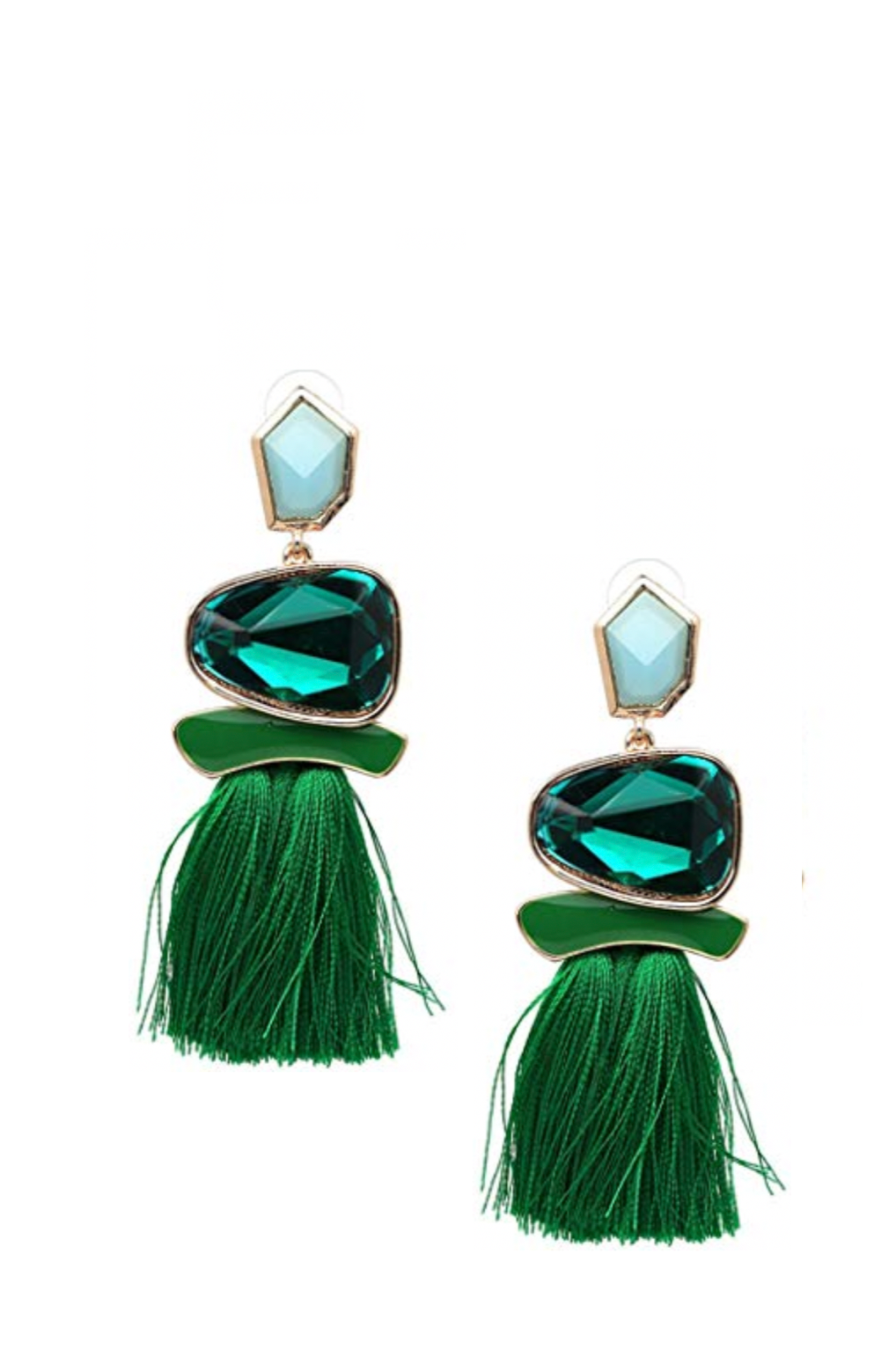 18K Gold Statmenet Green Tassel Earrings