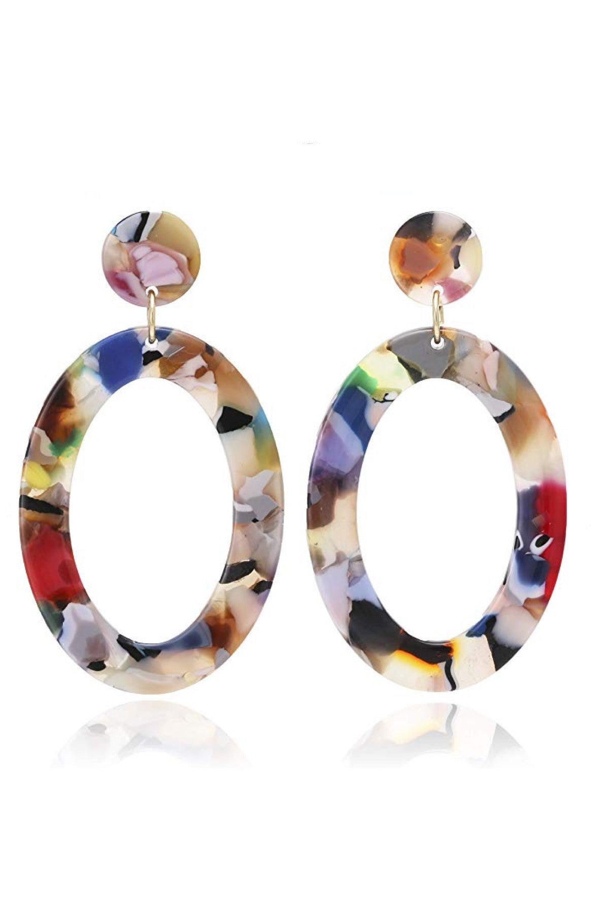 Multi Color shell Boho Statement Oval Earrings