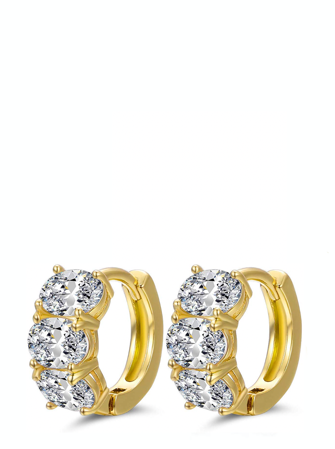 18k Gold Multi Oval Zirconia Huggie Earrings