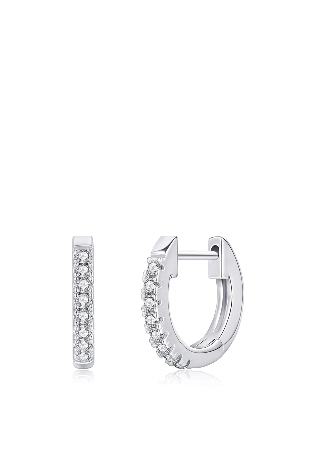 Silver Cz Huggie Earrings
