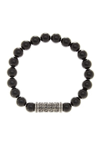 Onyx Carved Bar Bracelet