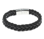 Black Woven Leather Bracelet in Silver