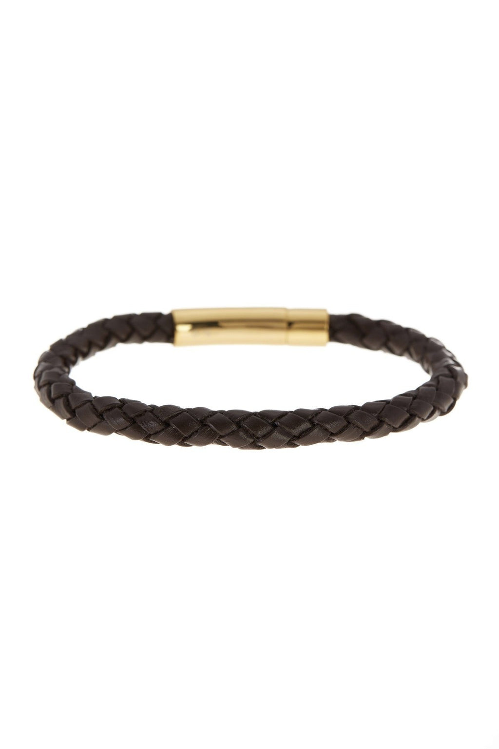 18k Gold Plated Black Woven Leather Bracelet