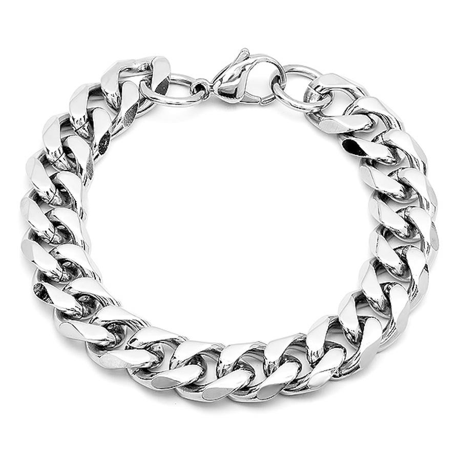 Silver Polished Cuban Link Bracelet