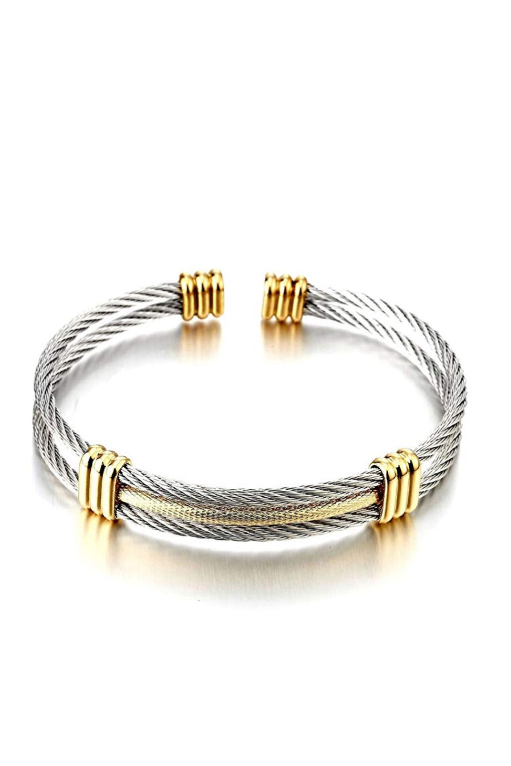 18k Gold & Silver Two Tone Cable Cuff Bangle