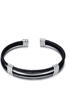 Silver Black Cable Cuff Bangle