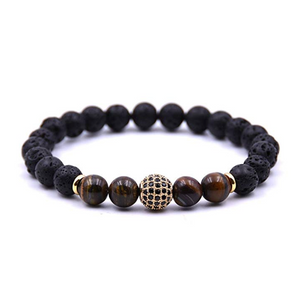 18k Gold Black Lava & Tiger Eye Black Cz Bracelet