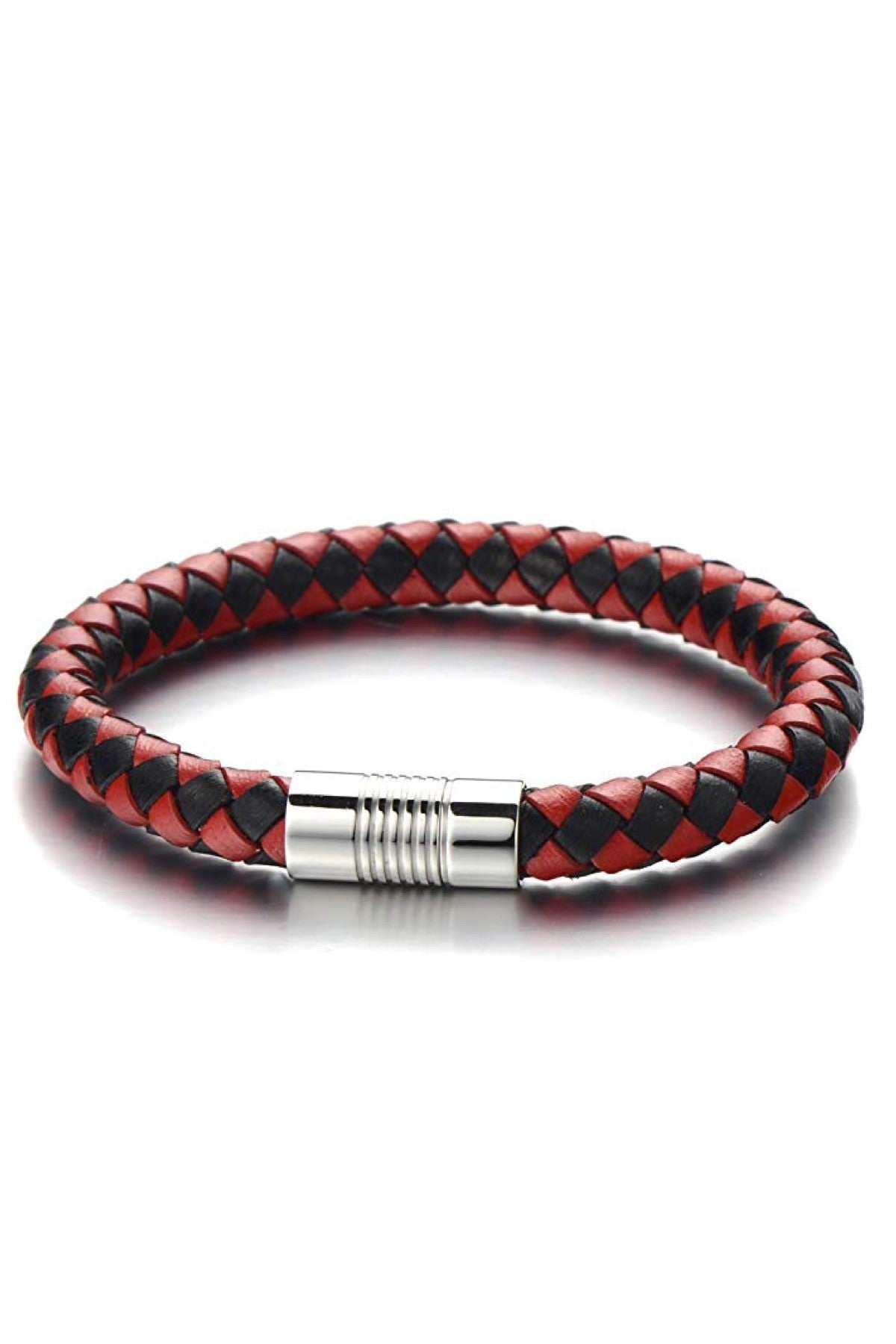 Red & Black Woven Leather Silver Bracelet