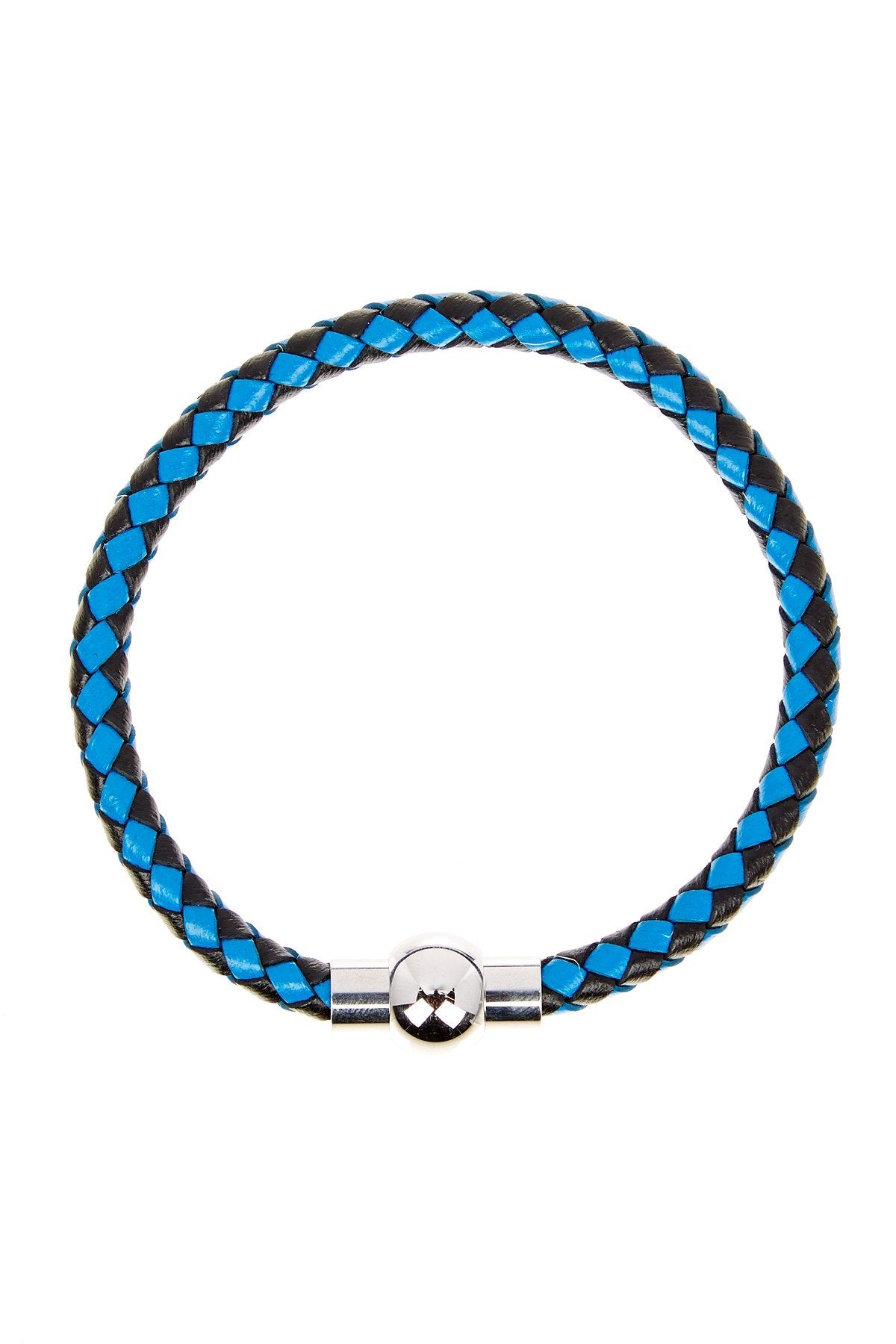 Blue & Black Woven Leather Bracelet in Silver