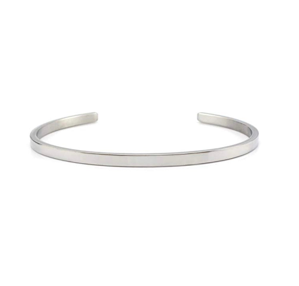 Silver Polished Cuff Bangle