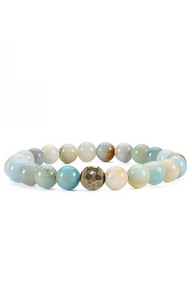 Multi Blue Amazonite Gunmetal Bracelet