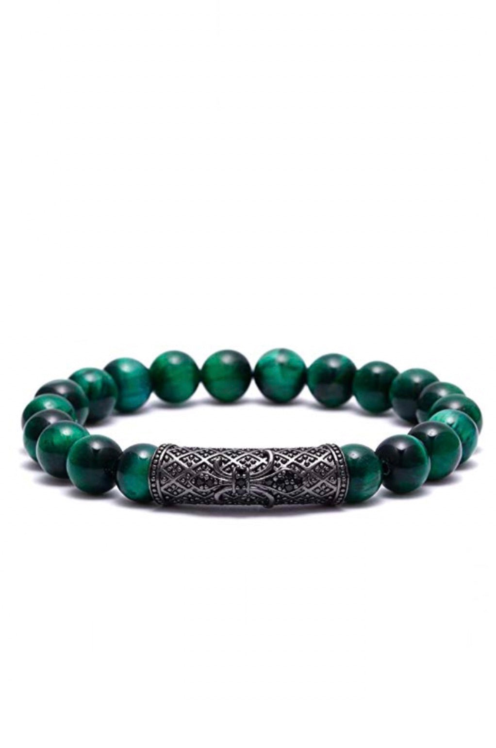 Black Plated & Green Gemstone Cz Bracelet