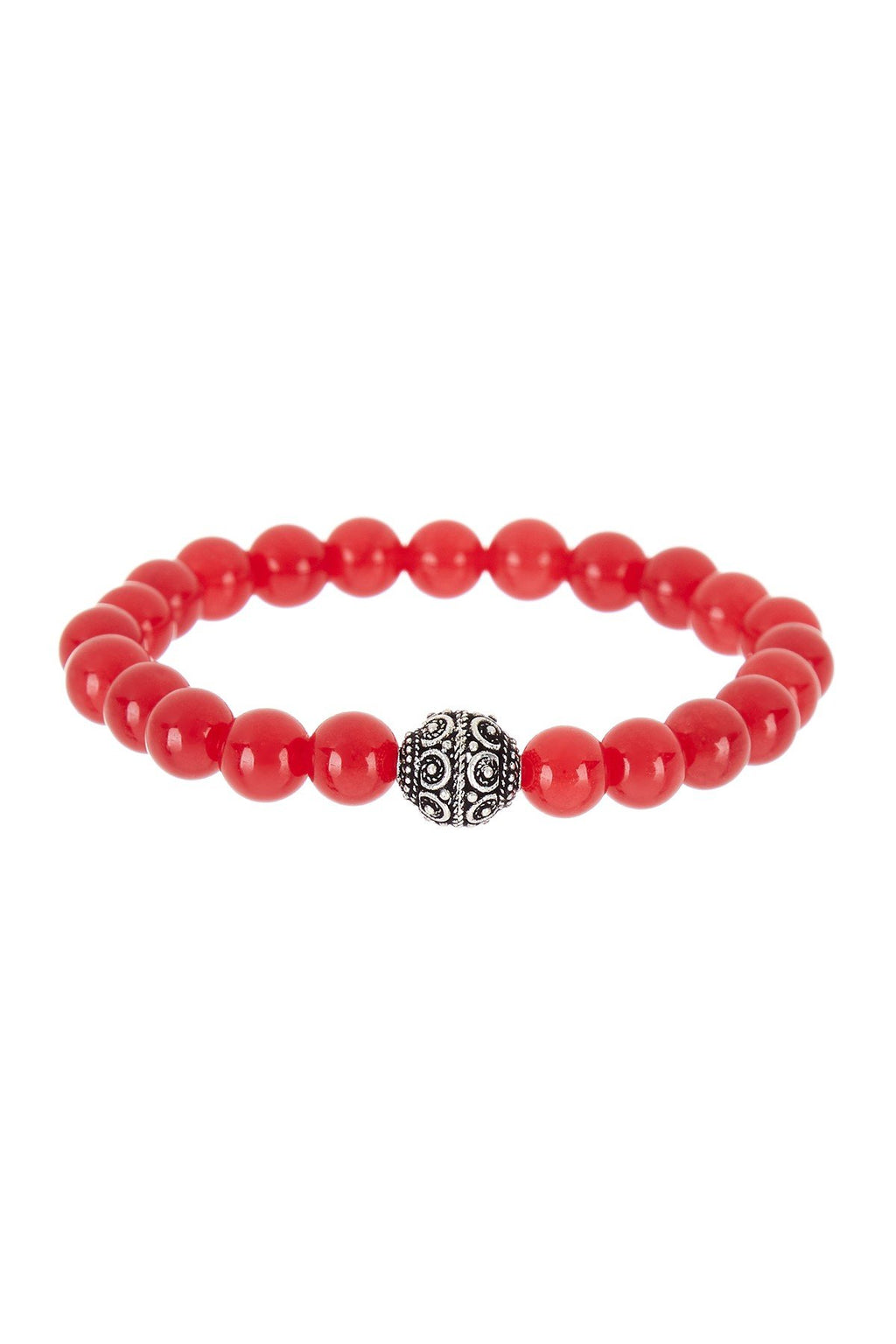 Sterling Silver Red Jade Bracelet