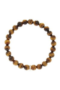 18K Gold Plated Sterling Silver Cz Tiger Eye Bracelet