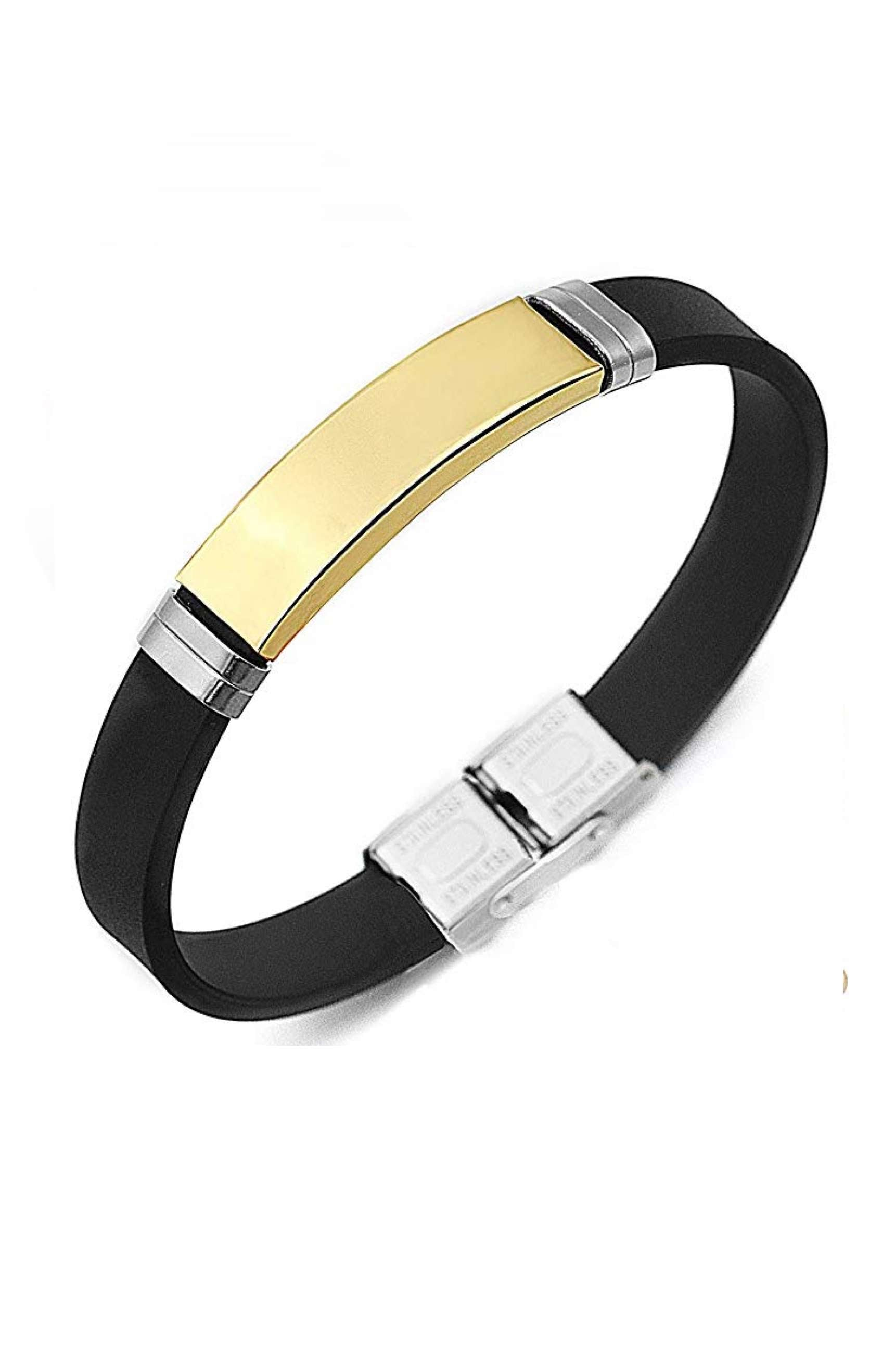 18K Gold & Silver Black Silicone ID Bracelet