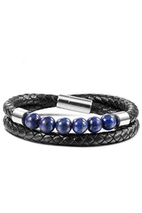 Black plated Woven Leather & Lapis Wrap Bracelet