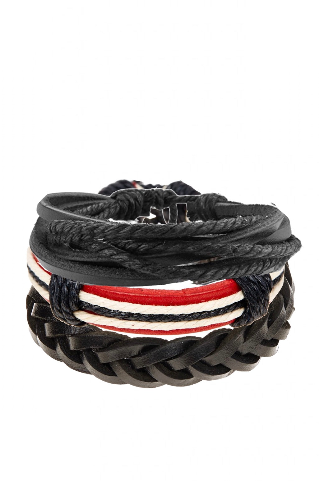 Set of 3 Red and Black Leather Woven Bracelets