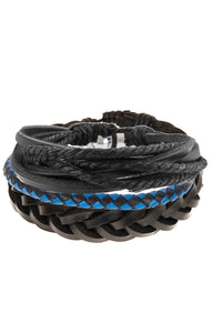 Set of 3 Blue and Black Leather Woven Bracelets