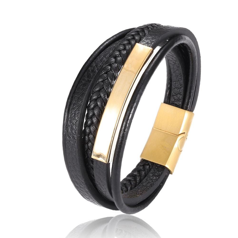 18K Gold Black Leather Id Bracelet