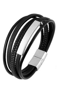 Silver Black Leather Id Bracelet