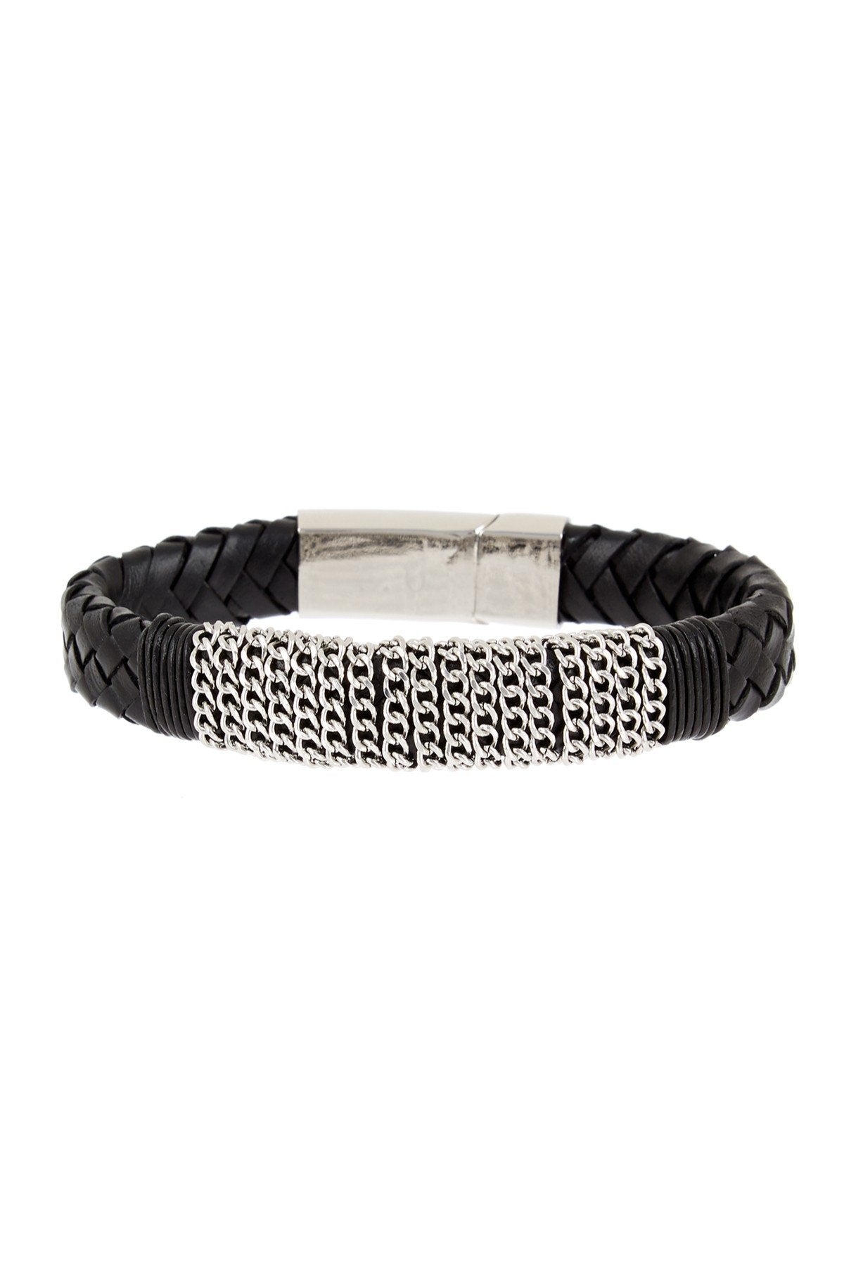 Black Leather Multi Chain Bracelet in Silver
