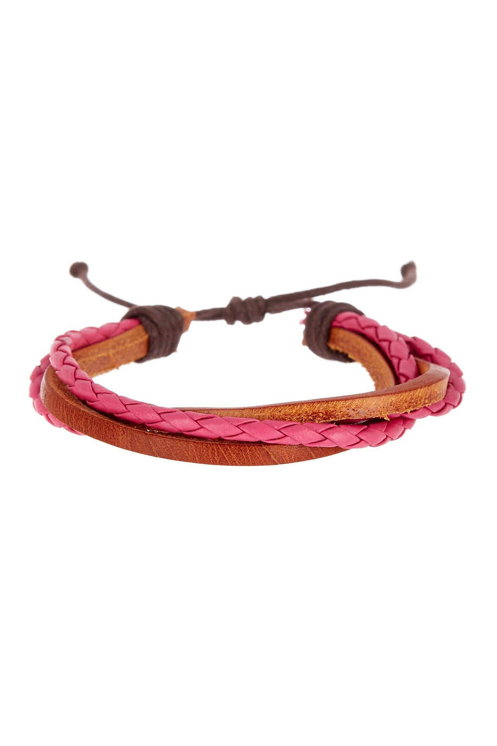 Red & Brown Adjustable Leather Bracelet