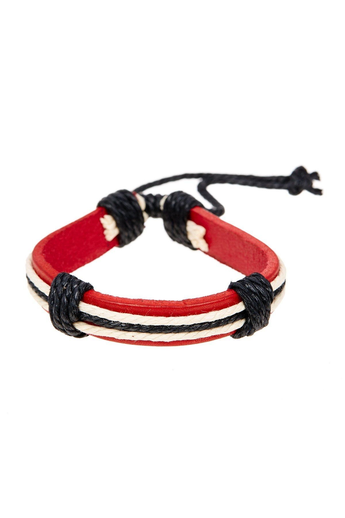 Red & Black Stripe Adjustable Leather Bracelet