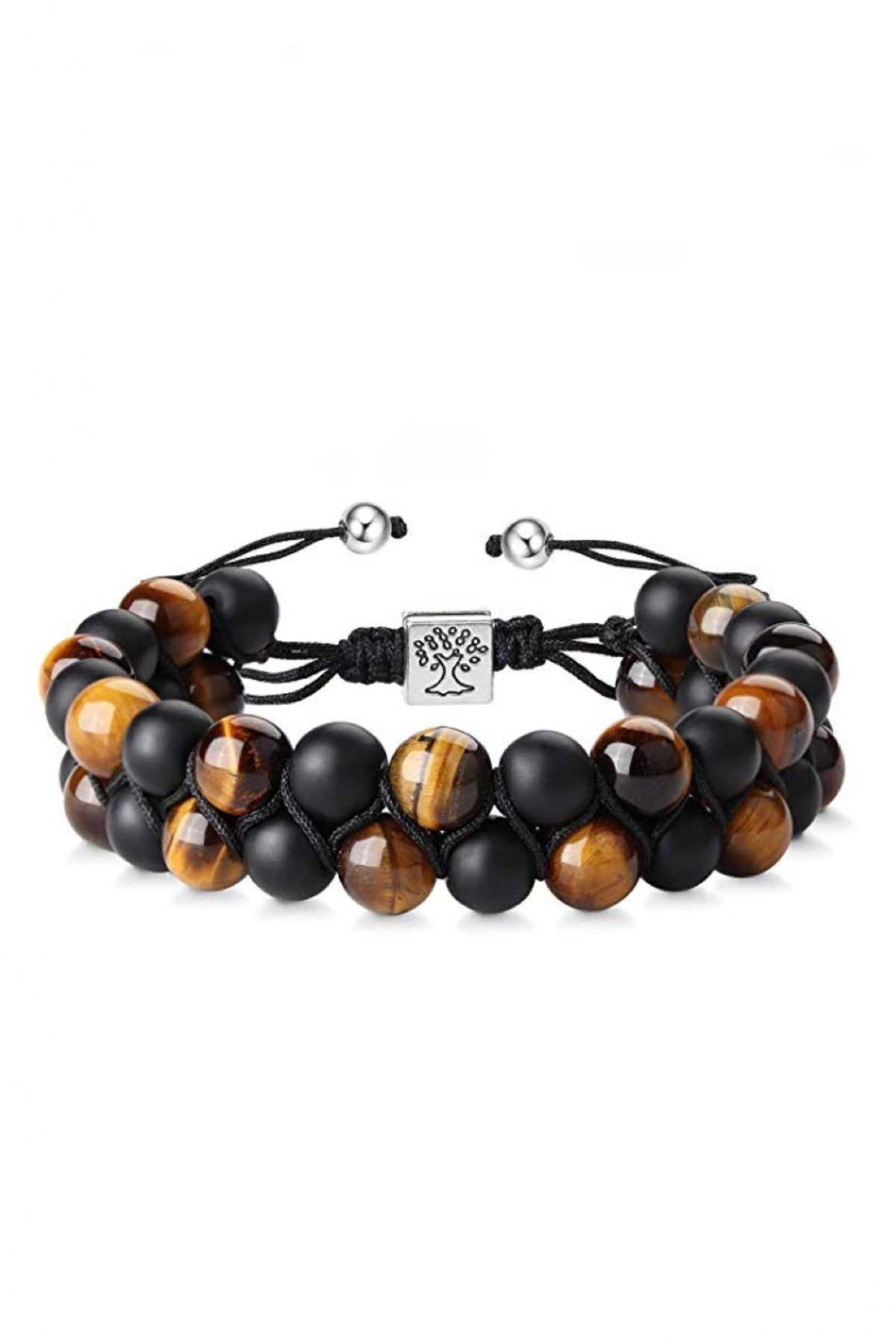 Matte Black Onyx & Tiger Eye Adjustable Bracelet